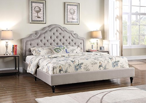 LIFE Home furBed00023_Cloth_LightGrey 0023 Grey Full Size Bed, Light