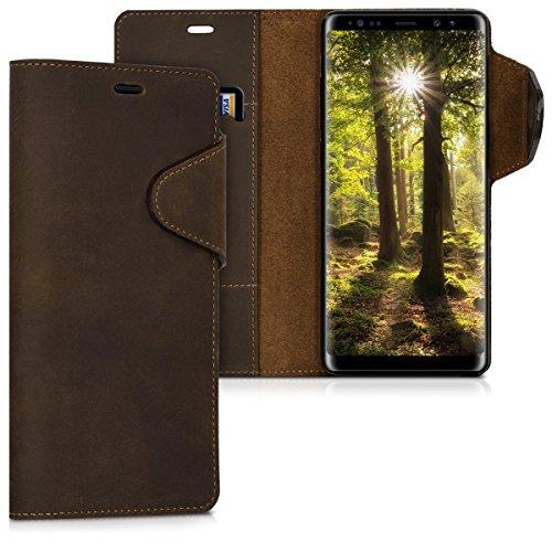 kalibri Wallet Hülle kompatibel mit Samsung Galaxy Note 8 DUOS - Hülle Leder - Handy Cover Handyhülle in Braun