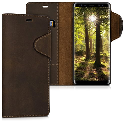 kalibri Samsung Galaxy Note 8 DUOS Hülle - Leder Handyhülle für Samsung Galaxy Note 8 DUOS - Braun - Handy Wallet Case Cover