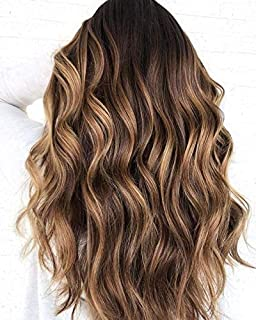 Sunny 14inch Upart Wig Human Hair for 3/4 Full Head Hairpieces Balayage Natural Black to Dark Brown Highlight Blonde 100% Remy U Shape Half Wig 100g