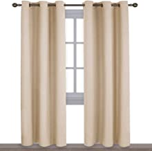 NICETOWN Thermal Insulated Eyelet Top Room Darkening Panels/Curtains/Drapes for Bedroom (2 Panels, W42 x L84 inches, Biscotti Beige)