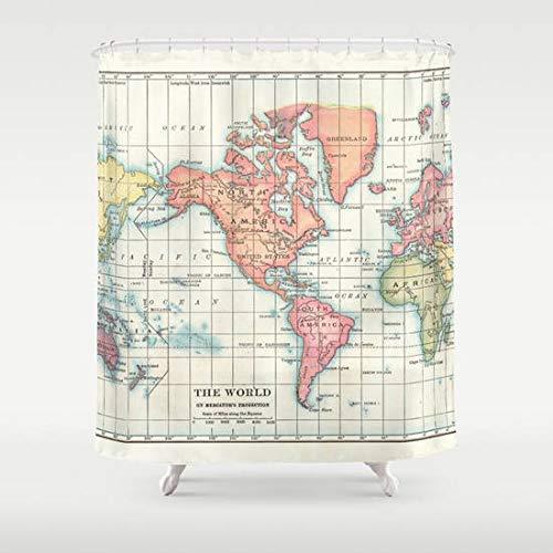 Ad4ssdu4 - Cortina de Ducha con Mapa del Mundo, diseño de Mapa histórico Vintage de los continentes, Colorida decoración para el hogar, baño, geografía, Historia, Viajes, Color Crema y Verde