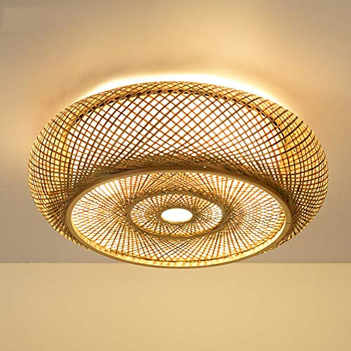 Retro Bambus Gewebte Deckenlampe Bambus Pendellampe E27 Land Korridor Deckenleuchte Handgewebte Lampe Natürliche Bambus Rattan Wohnzimmer Schlafzimmer Studie Dekorative Lampe,40cm