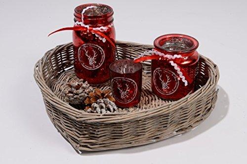 Kaemingk Glasteelichter rot mit Weidenherz 32 x 29 x 15cm