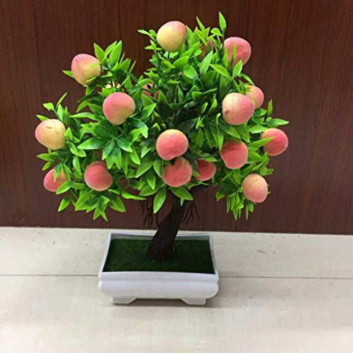Dserw Artificial Plant, Potted Artificial Peach Fruit Tree Bonsai Home Garden Desktop Decor Prop