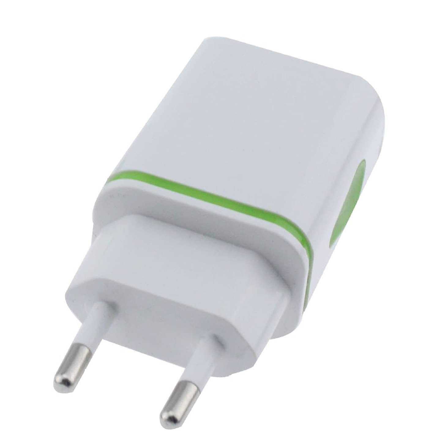 USB Charger Cable, Sacow EU Plug LED USB AC Charger Adapter 2 Ports Travel Charger for Samsung Galaxy Note 8 Features: (Green)