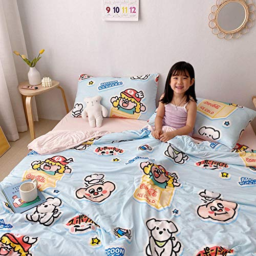 chenyaya Filling & Cover Lightweight,Children's cartoon reversible summer duvet, anti-bacterial and anti-mite duvet, without pillowcase-blue_78.74x90.55inch