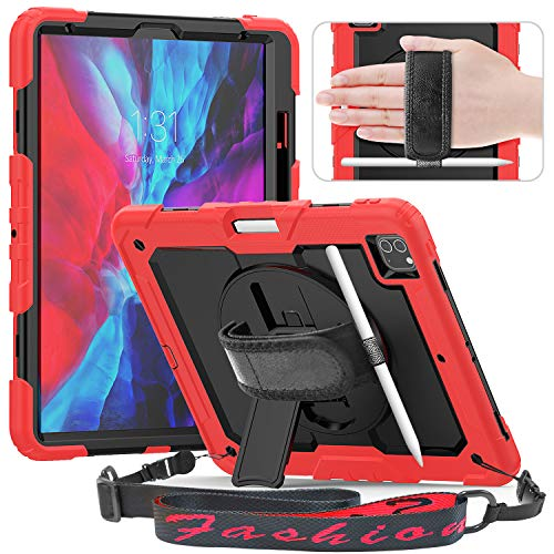 Timecity iPad Pro 12.9 Case 4th Generation 2020 & 2018, [Support Apple Pencil 2 Charging], Built-in Screen Protector Cover for iPad Pro 12.9' 4th Gen 2020 / iPad Pro 12.9' 3rd Gen 2018 - Red