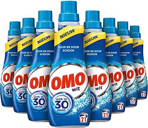 Omo Vloeibaar Wasmiddel Wit 8 x 21 wasbeurten - 8 x 735 ml Voordeelverpakking