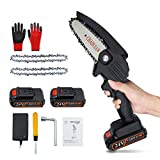 WEEFUN Mini Chainsaw,4-Inch Handheld Cordless Electric Chainsaw with 2Pcs Batteries and 2Pcs Chain,Portable 24V Electric Chainsaw, Pruning Shears Chainsaw for Courtyard Tree Branch Wood Cutting -Black