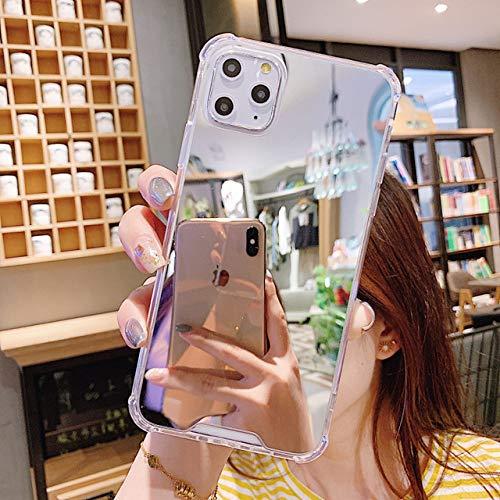 AAA&LIU Funda Transparente para teléfono con Espejo de Maquillaje para iPhone 12 11 Pro MAX XR XS MAX 7 8 Plus X Funda Trasera de Silicona a Prueba de Golpes para teléfono, Plateada, para iPhone 6 6s
