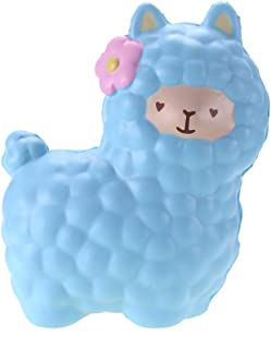 VLAMPO 6.5inch Jumbo Alpaca Squishies Slow Rising Kawaii Llama Squishy Toys Scented Squishy Collection Stress Relief Squeeze Toy Soft Slow Sheep Toy for Girls Boys Kids Adults (Blue)