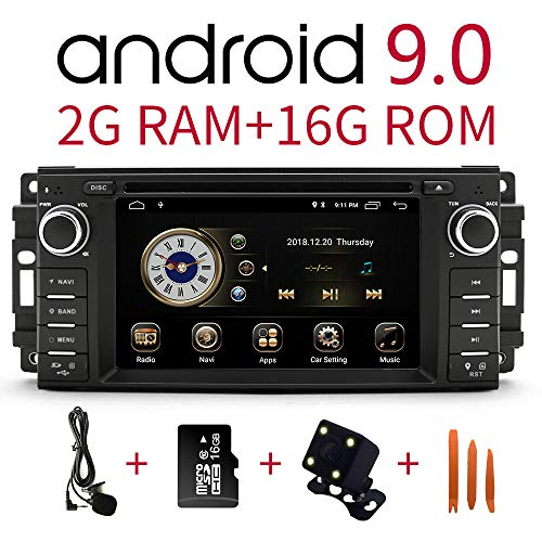 Car Stereo Radio in Dash Navigation for Dodge Ram Challenger Chrysler Jeep Wrangler,6.2 inch Touchscreen Android 9.0 Single Din DVD Player Bluetooth with Rear View Camera,16GB SD Card,3.5mm Mic