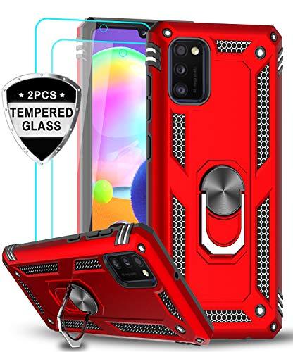 LeYi für Samsung Galaxy A41 Hülle mit Panzerglas Schutzfolie(2 Stück),360 Grad Ring Halter Handy Hüllen Cover Magnetische Bumper Schutzhülle für Case Samsung Galaxy A41 Handyhülle Rot