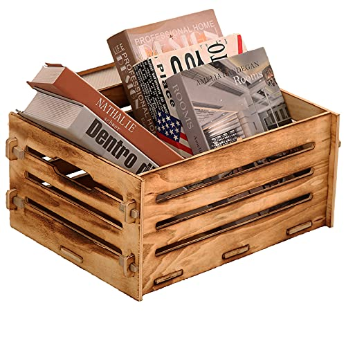 Wooden Crate,Rustic Decorative Storage Boxes,Milk Crates,Pantry Baskets,Cube Record Organizer,Kitchen Storage Bins for Fruit,Potatoes,Vegetable,Onion