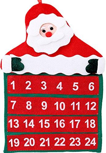 'Calendario dell' Avvento 'Babbo Natale in feltro, dimensioni: ca. 40x 30cm, con cinghia da appendere
