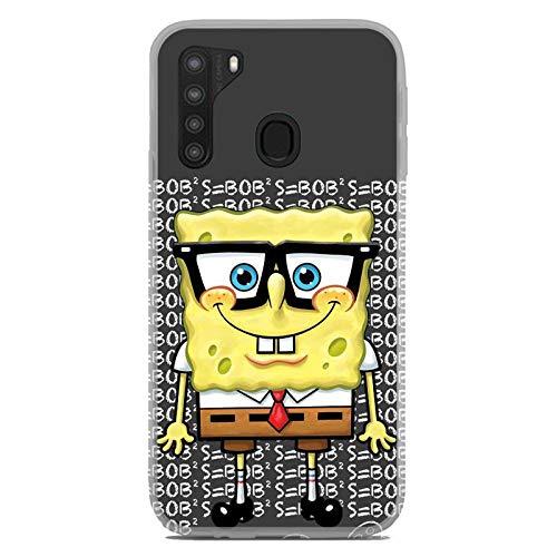 for Galaxy A21/A11/A10E Flexible TPU Case Cover Premium 9H Glass Screen Protector - Cute Cartoon Character Spongebob Nerd