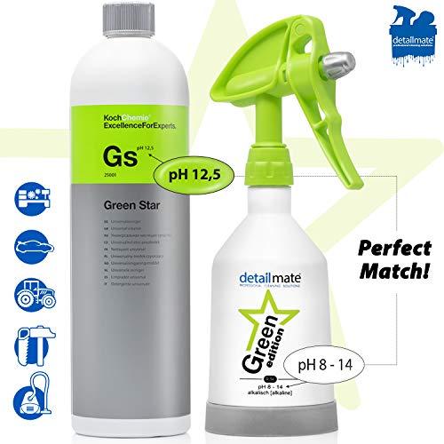 detailmate Green Star Set: Koch Chemie GreenStar Universalreiniger Auto Industrie Werkstatt 1L + KWAZAR Mercury Sprühflasche Green Edition - 0,5l - für ph 8-14 geeignet