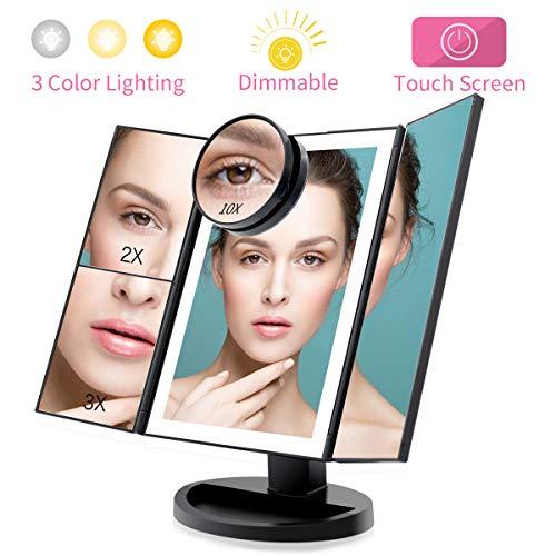 FASCINATE Espejo Maquillaje con Luz 3 Modos Iluminación Colores,72 Leds...