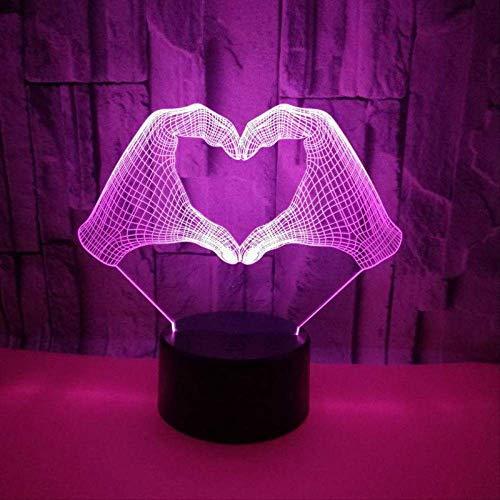LWJZQT nachtlampje Gesto Gesto 3D lichtschakelaar voor stereo-aanzicht, LED-lampen voor tafel met USB-aansluiting, voor woonkamer