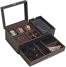 Amiglo Mens Dresser Valet Organizer with Charging Station, Nightstand Drawer Tray, Jewelry Accessories Watches Box, Carbon Fiber Design, PU Leather (Gold Brown)