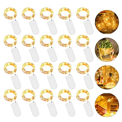 20 Piezas Cadena de Luces con Pilas, 20 LEDs 2M Luces de Cadena Micro Cobre, Alambre de Cobre Guirnaldas Luces, IP65 Impermeable Luces Decorativas para Navidad, Fiesta, Hogar, Bodas (Blanco Cálido)