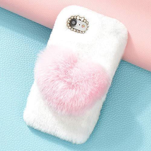 King phone Plüsch Liebesherz Hülle für Wiko Sunny 3 Handyhülle Niedlich Weich Faux Pelz Schutzhülle Winter Warm Flauschig Silikonhülle Glitzer Stoßfest Cover - Rosa
