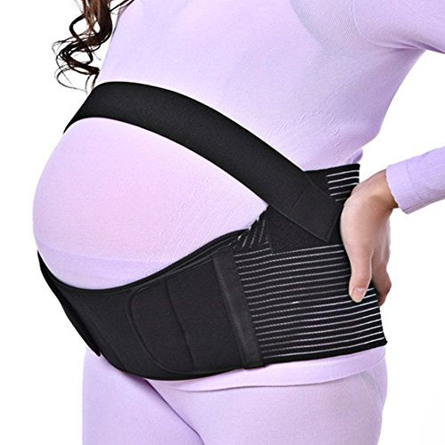 Maternity Pregnancy Support Belt,Rtdep Baby Belly Band for Abdominal, Hip,Waist & Back Support (L, Black)