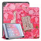Newcool Cute Japan Animal Pink Flower Case with Pencil Holder Compatible with New iPad 9.7 inch 2018/2017; Trifold Stand Smart Case for 9.7' iPad 5/6/7/Air1/Air2/Pro 9.7 Support Auto Sleep/Wake