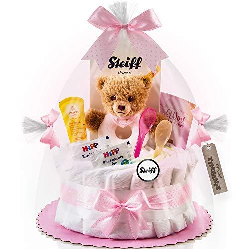 Timfanie® Windeltorte | Steiff Bärchen Rassel | 1-stöckig | rosa-punkt | Windeln Gr. 2 (Baby 4-8 Kg)