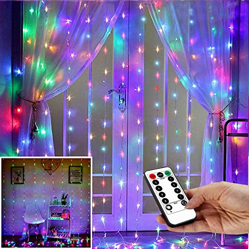 String Lights Curtain,USB Powered Fairy Lights for Party Bedroom Wall,8 Lighting Modes & IP64 Waterproof Ideal for Wedding Valentines Day Decor (Multi-Colored,7.9Ft x 5.9Ft)