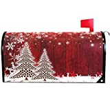 Merry Christmas Tree Winter Snowflake Pine Mailbox Covers Standard Size Red Christmas Tree Wood White Snow Magnetic Mail Wraps Cover Letter Post Box 21' Lx 18' W
