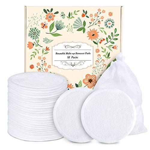 Reusable Cotton Rounds-18 Pack Organic Reusable Cotton Pads With Laundry Bag Makeup Remover Pads for Toner Eco-Friendly environmentally Bamboo Cotton Rounds Gifts?3.12inches?