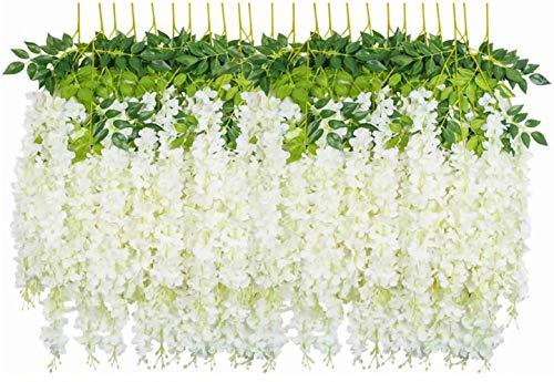jxgzyy Guirnaldas artificiales de glicina, 24 unidades, 3.75 pies, guirnalda de flores artificiales de seda, hojas de glicina, color blanco, para colgar en la hiedra, para bodas, decoración del hogar