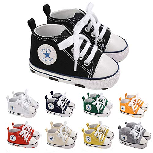 YUESUO Toddler Little Kid Boys and Girls Slip On Canvas Sneakers Toddler First Walk Crib Shoes Black