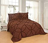 Set copriletto trapuntato in pizzo, 3 pezzi, per letto queen size e king size (269,2 x 243,8 cm, pizzo marrone)