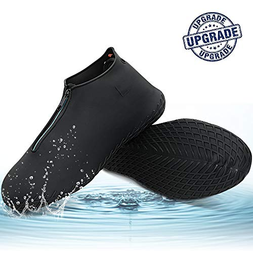 Silicone Shoe Cover Waterproof, Reusable Boot Shoes Covers with Zipper,Non Slip Rain Snow Bowling Travel Indoor Outdoor Overshoe Rubber Protectors for Men Women Kids Protection Galoshes-1 Pair-Black,L