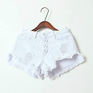 Jieming 女性のハイウエストファッションデザインマルチボタンデニムホットパンツ不規則なオープンボタンホールタッセル (Color : White, Size : S)