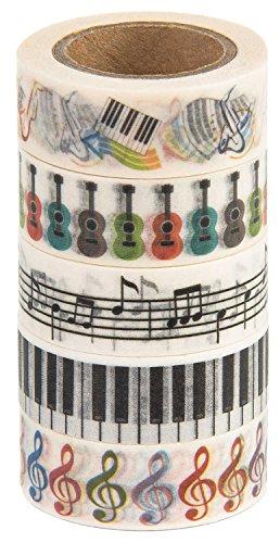 MIKOKA ブランド マスキングテープ(和紙テープ) 10 m 5巻セット 音楽♪
