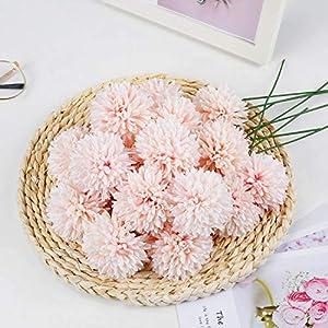 LIVILAN 25Pcs Fake Champagne Flowers Artificial Chrysanthemum Ball Faux Flowers Bulk Bridesmaid Bouquets for Wedding, HomePartyOffice Coffee Shop Decor