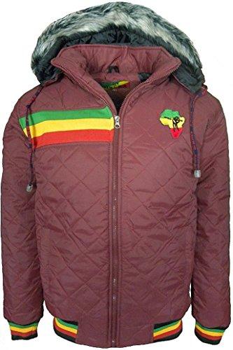 Raw Blue Mens Rasta Lion of Judha giacca trapuntata con cappuccio staccabile Red-africa L