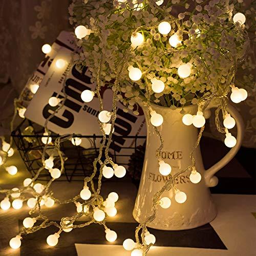 LOHAS® Guirlande Lumineuses Boules 80 LED Lumières, 9M Chaîne Eclairage Lampe Etanche versez,Décoration de Noël, Halloween, Mariage,Anniversaire, Maison,Jardin,Pâques,Terrasse,Pelouse (Blanc Chaud)