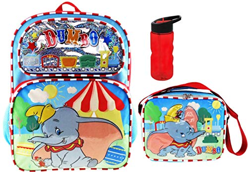 Dumbo 16 inch Backpack, Matching Insulated Lunch Tote PLUS Tritan Water Bottle