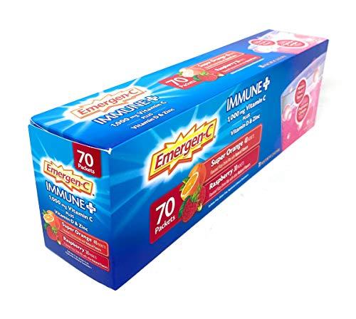 Emergen-C Immune+ Dietary Supplement Fizzy Drink Mix, Super Orange and Raspberry