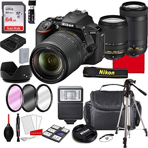 Nikon D5600 DSLR Camera Kit with 18-140mm VR Lens+ 70-300mm Zoom Lenses   Built-in Wi-Fi   24.2 MP CMOS Sensor   EXPEED 4 Image Processor and Full HD   SnapBridge Bluetooth Connectivity(29pc Bundle)