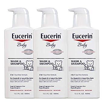 Eucerin Baby Wash & Shampoo - 2 in 1 Tear Free Formula Hypoallergenic & Fragrance Free Nourish and Soothe Sensitive Skin - 13.5 fl oz Pump Bottle  Pack of 3
