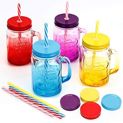 ZGoEC Tazza con coperchio e cannuccia trasparente, 4 colori con manico, bicchiere da 16 oz Mason Jar con 4 coperchi per foro, 4 coperchi extra di tenuta e 8 paglia di plastica