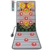 Colchón masajeador plegable,Colchoneta de masaje eléctrica zonas, 10 motores Intensidad Ajustable,con Amasamient Cojín de Masajeador eléctrico,para aliviar el dolor regalos ideales