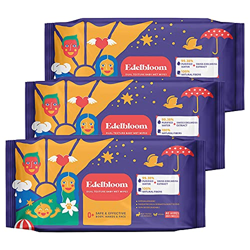 Edelbloom Toallitas húmedas Dual Texture para bebés, 48 x 3 paquetes