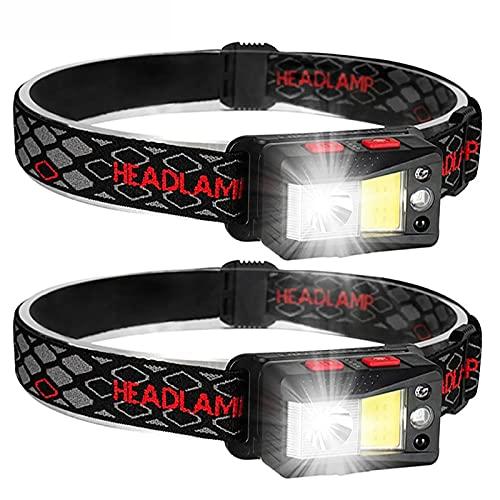 Linterna Cabeza Led Headlight,Linterna Frontal Led Recargable Alta Potencia,9 Modos con Sensor y Luz Roja, Impermeable para Running, Acampar, Pesca, Ciclismo, Excursión(2 Unidades)
